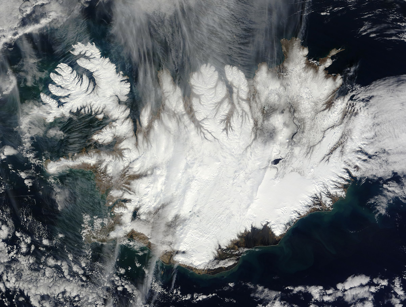 Cloud-Free View of Iceland