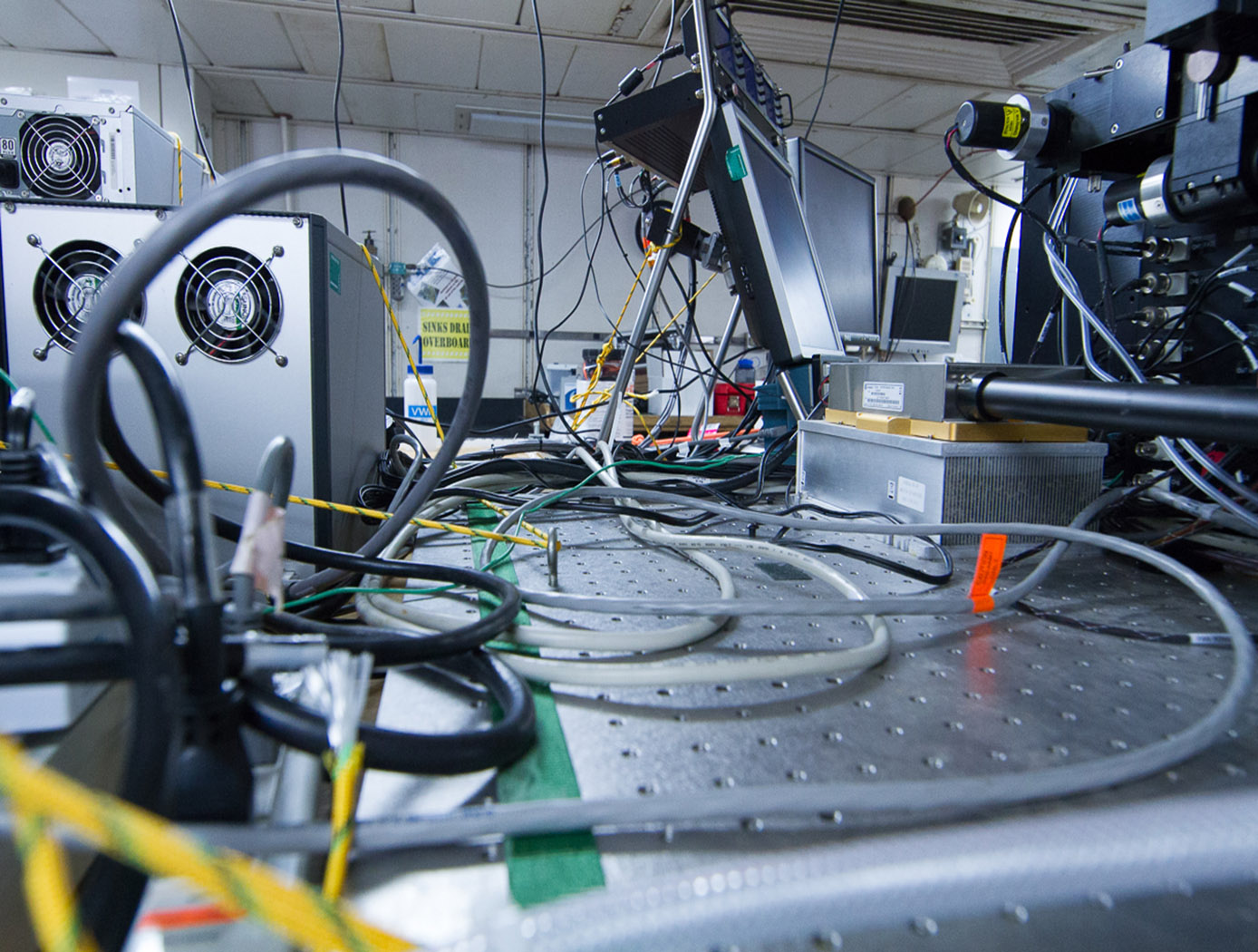 Onboard the R/V Atlantis a tangle of power and data cables awaits a busy team of scientists who will organize them
