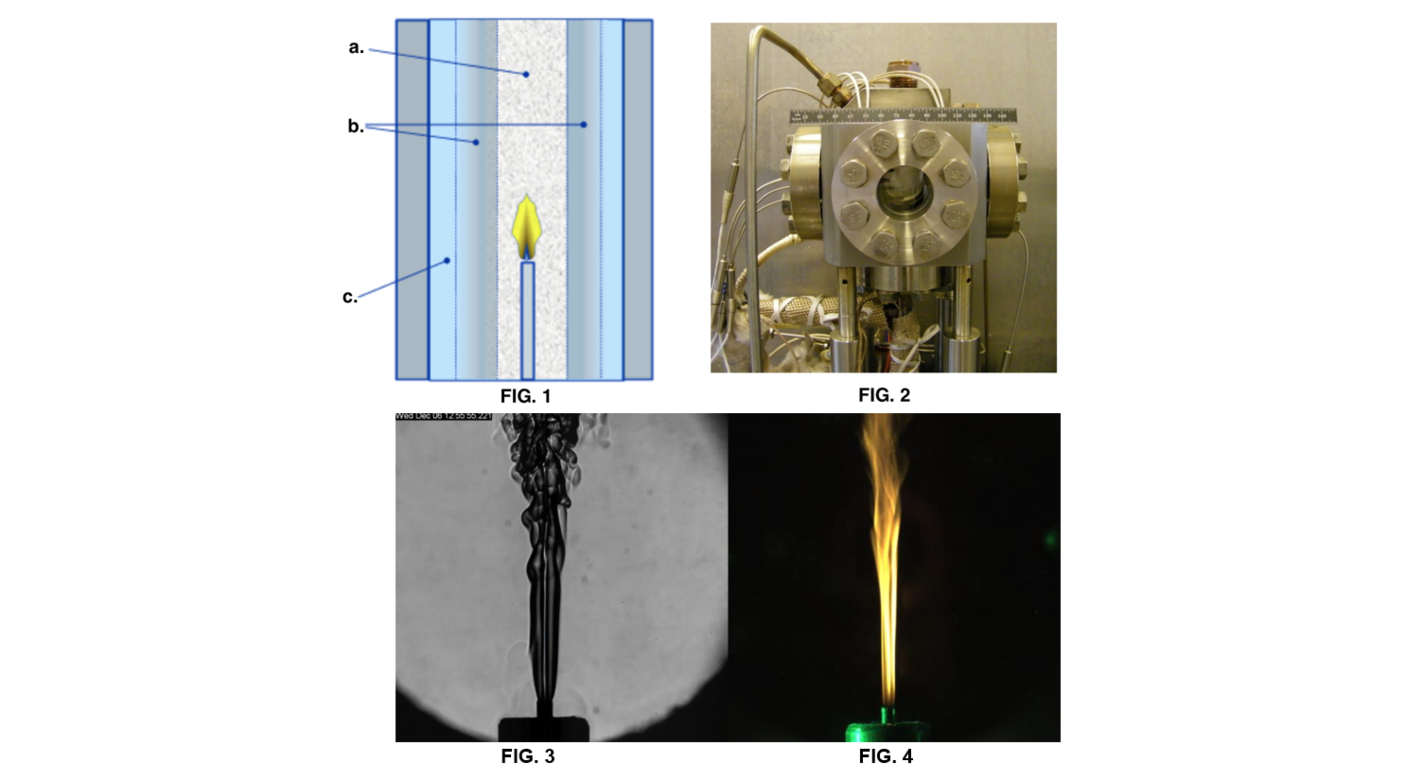 FIG. 1: Conceptual diagram of the SCWO-FPV Reactor (a. supercritical region; b. transcritical region; c. subcritical region); FIG. 2: Experimental Set-up: SCWO-FVP Test Cell; FIG. 3: B&W camera (shadowgraphic image) of the fuel/water solution being injected into the SCWO test cell filled with air and water at supercritical temperatures and pressures; FIG. 4: color camera view of the hydrothermal flame taken at the same time as FIG. 3.