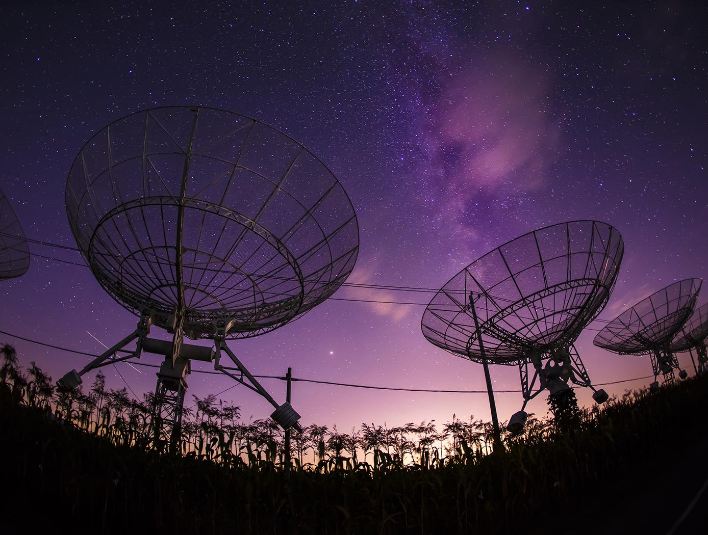 Satellites Purple Sky