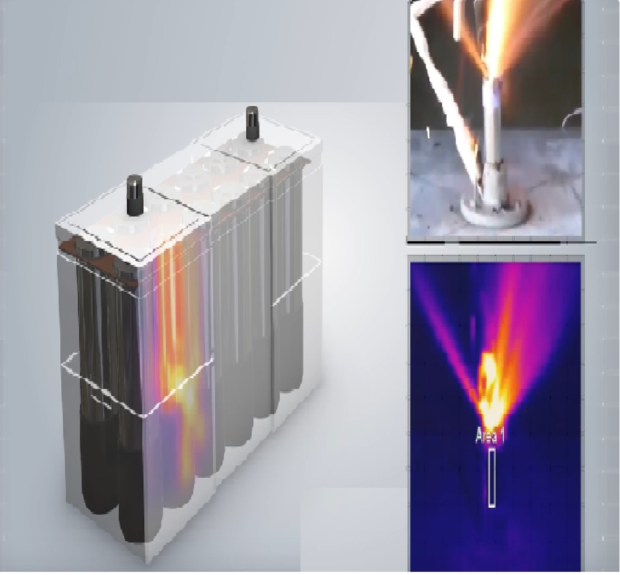 Battery is being tested by inducing the Internal Short Circuit method to one of the cells while introducing heat.