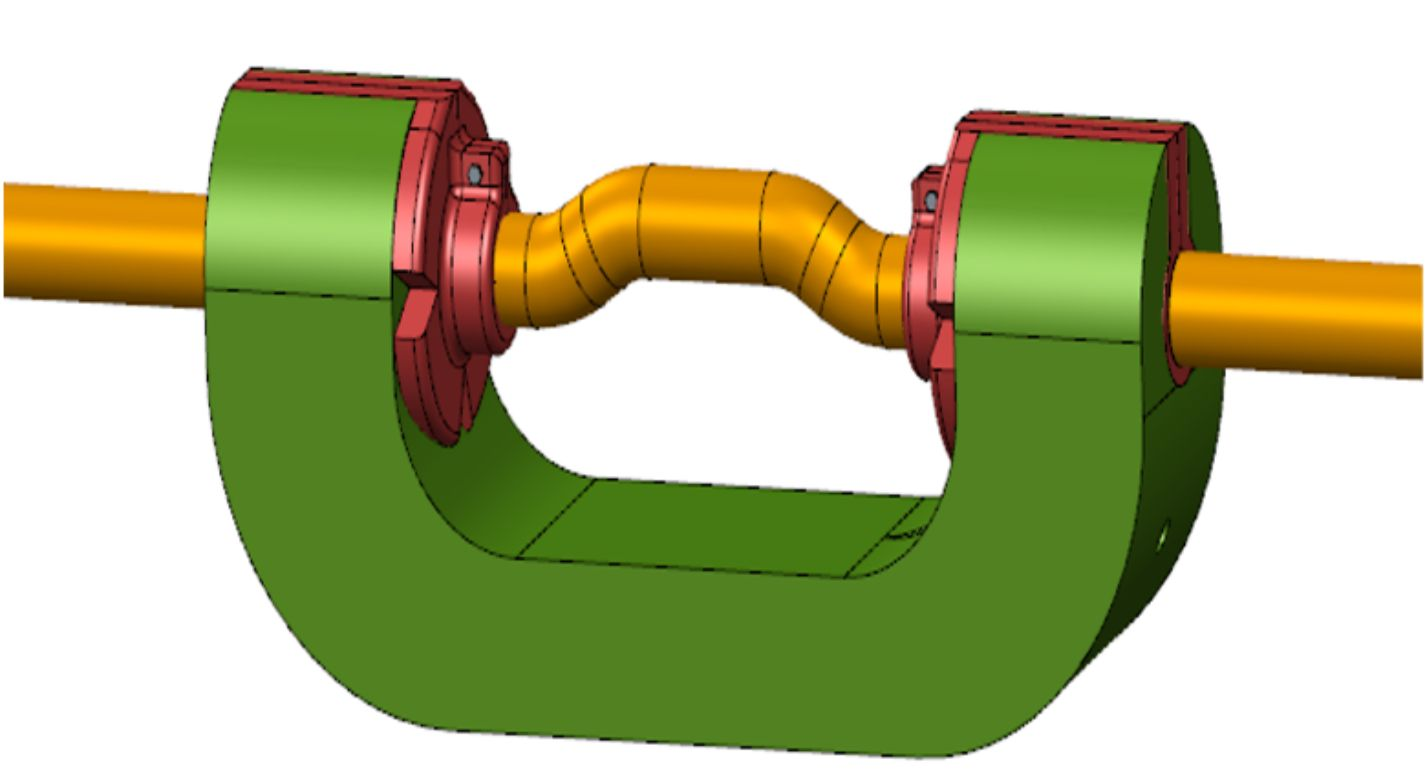 A drawing of the C-Gauge load cell designed for measuring parachute reefing line tension