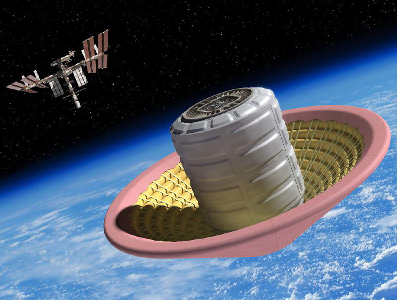 Artist's concept of hypersonic inflatable aeroshell and technologies suitable for returning mass from the International Space Station.